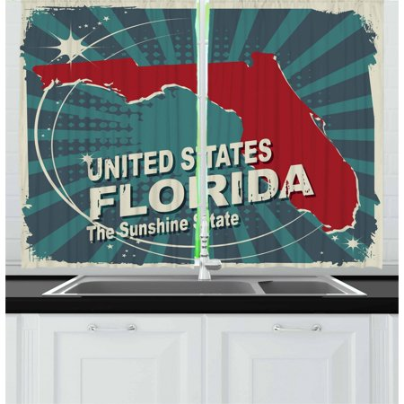 Florida Curtains 2 Panels Set, Retro Style Sunburst Worn Out Backdrop with the City Map of Florida United States, Window Drapes for Living Room Bedroom, 55W X 39L Inches, Multicolor, by Ambesonne