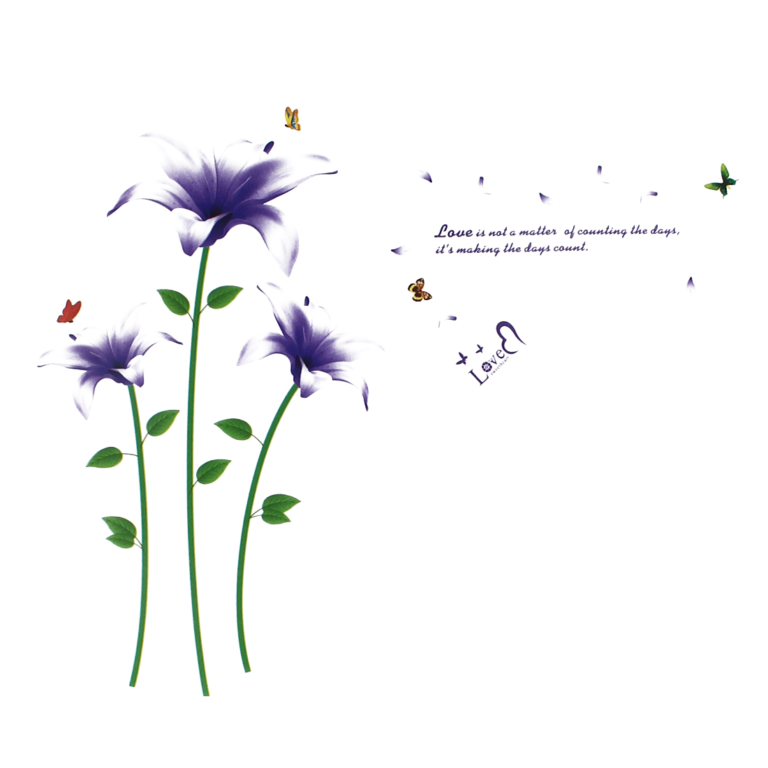 Home Art Lily Butterfly Pattern Removable Wall Decor Sticker Decal Mural