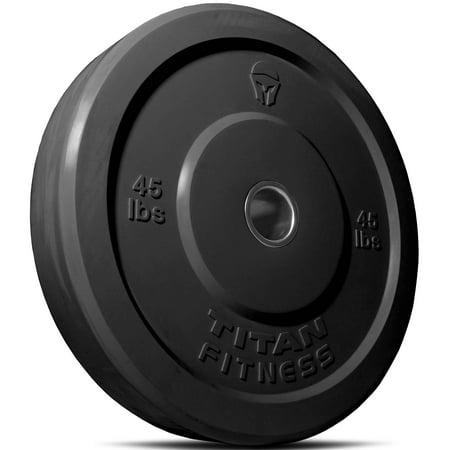 Titan Fitness 45 lb Olympic Bumper Plate Black Benchpress Strength Training ()