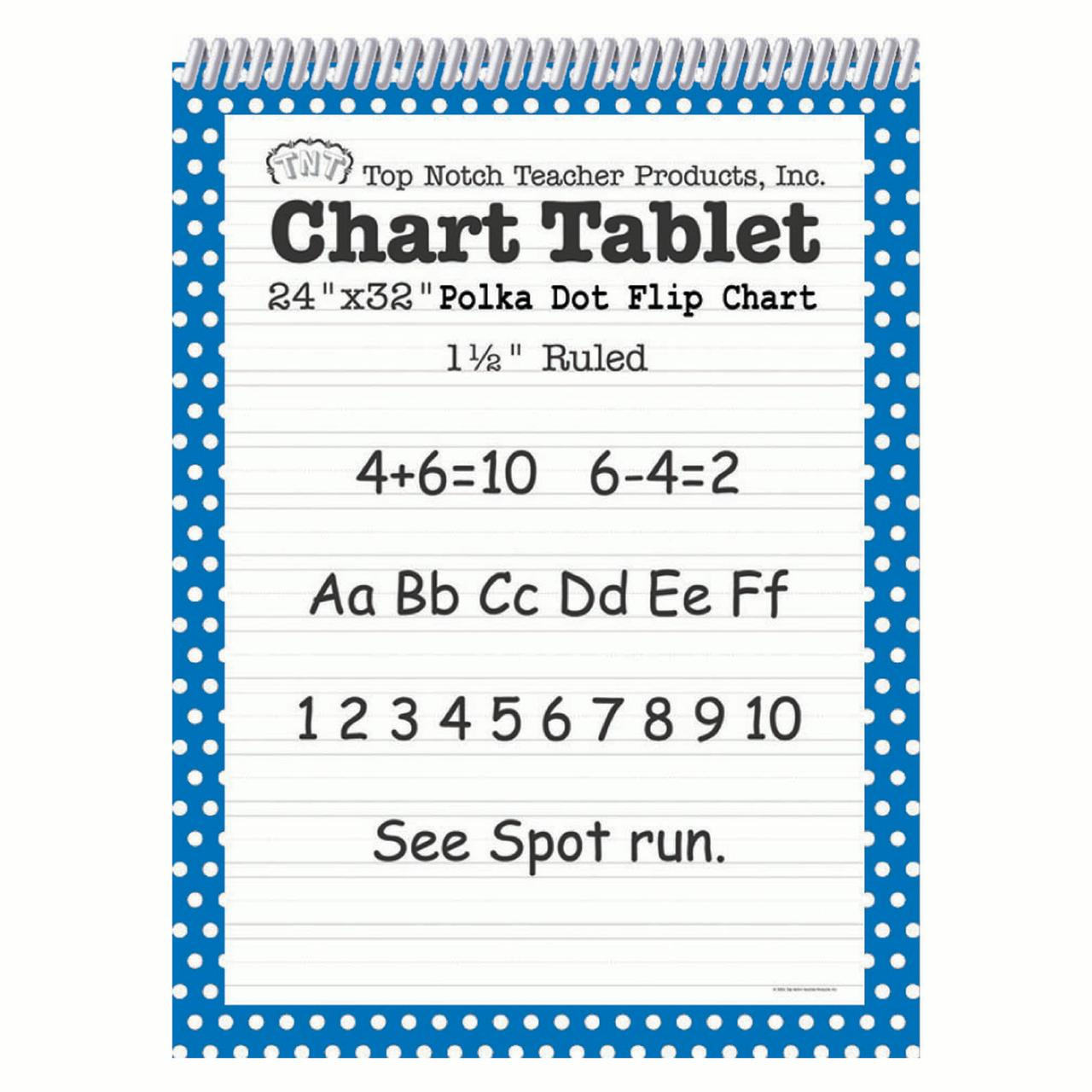 "Top Notch Teacher Products Chart Tablet Polka Dot- 1 1/2"" Ruled"