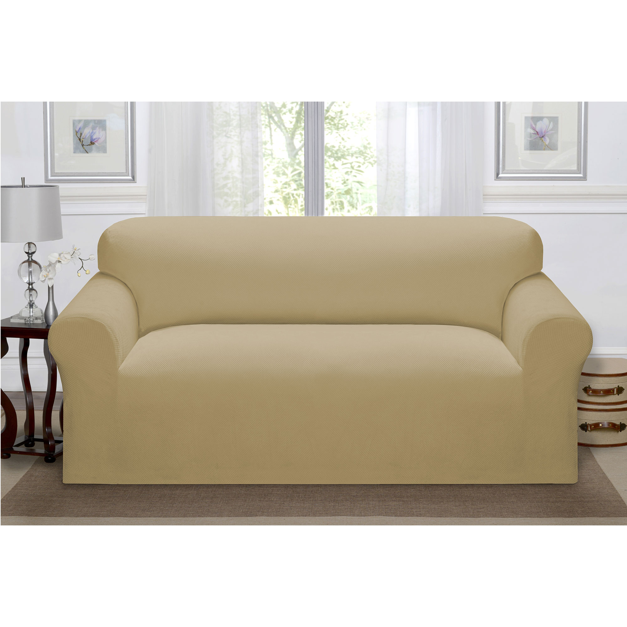 Madison Home Stretch Pique Furniture Slipcover, Soft Waffle Textured Pattern (Sofa, Beige)