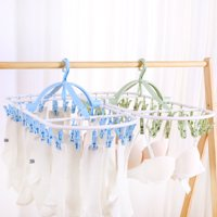 Laundry Hanger Drying Rack - Foldable Clip and Drip Hanger with 32 Pins, Clothes Drying Rack, Sock Hanger,Underwear hanger -Lake Blue