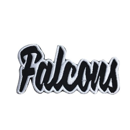 Mascot Patch (Falcons - Black/White - Team Mascot - Words/Names - Iron on Applique/Embroidered Patch )