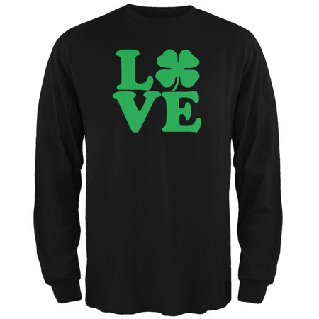 St. Patricks Day - Love Irish Shamrock Black Adult Long Sleeve