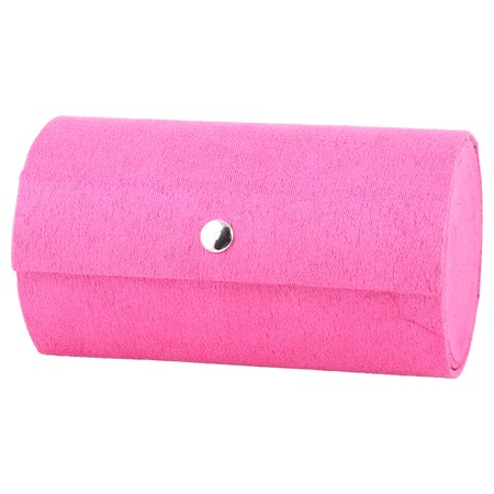 Fabric Jewelry - Home Travel Lady Flocked Fabric Round Design Ring Jewelry Box Organizer Fuchsia