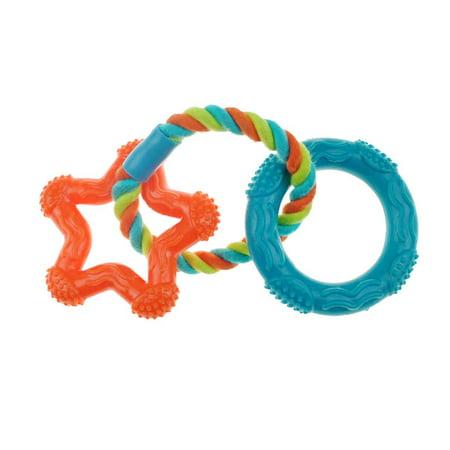 Rubber Dental Rope (Rope 'N Rings Dog Dental Toys Flexible Rubber Star & Ring 8