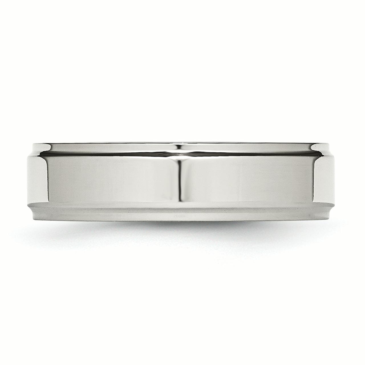 Stainless Steel Ridged-Edge 6mm Polished Band Ring 13 Size - image 2 de 6