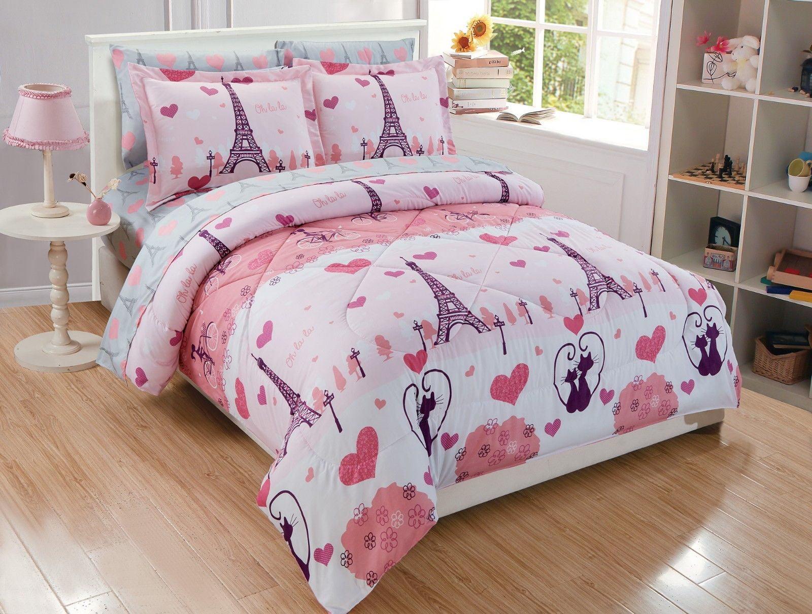Fancy Linen 7pc Queen Size Comforter Set Girls Eiffel Tower Paris Hearts Pink Grey New Walmart Com Walmart Com