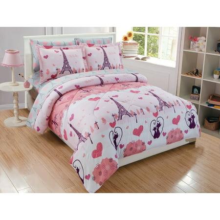 Fancy Linen 7pc Full Size Comforter Set Girls Eiffel Tower Paris Hearts Pink Grey New