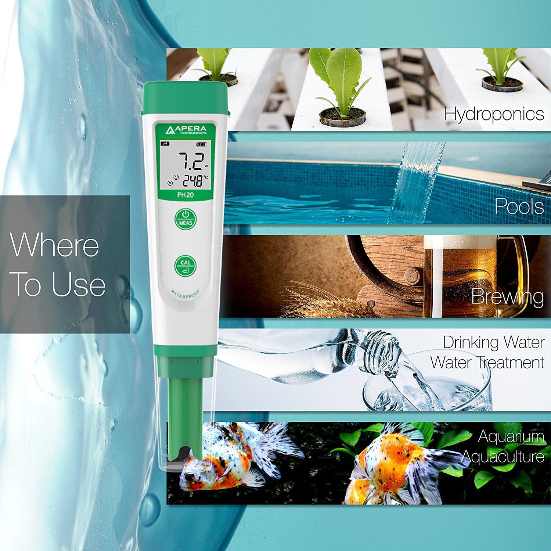 Pocket Tester Waterproof Apera Instruments PH20 Value pH Meter ±0.1...