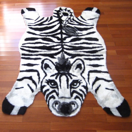 Walk on Me Rugs Black/White/Grey Zebra Print Acrylic and Polyester Playmat Rug - 3'3 x 4'7