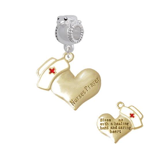 Gold Tone Nurse's Prayer Heart - Healing Hand - Frog Charm Bead