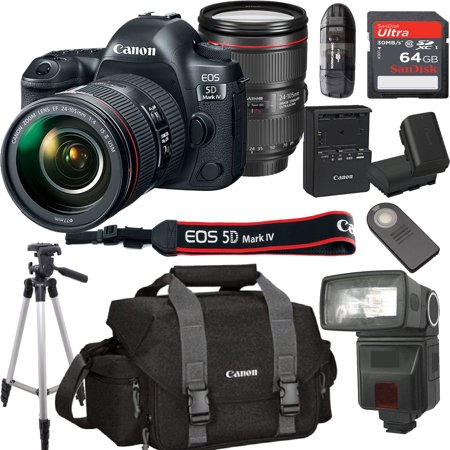- Canon EOS 5D Mark IV With 24-105mm f/4 L IS II USM Lens Kit Bundle + 64GB High Speed Memory Card + Canon 300DG Deluxe Camera Bag + Wireless Remote Shutter + Tripod + More