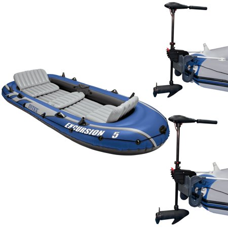 Intex Excursion 5 Inflatable Boat Set & 2 Transom Mount 8 Speed Trolling