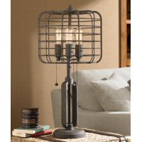 Franklin Iron Works Industrial Table Lamp Rustic Metal Cage Accent Edison Bulb for Living Room Family Bedroom Bedside Nightstand