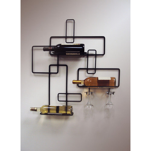 J & J Wire 3 Bottle Wall Mount Wine and Glass rack