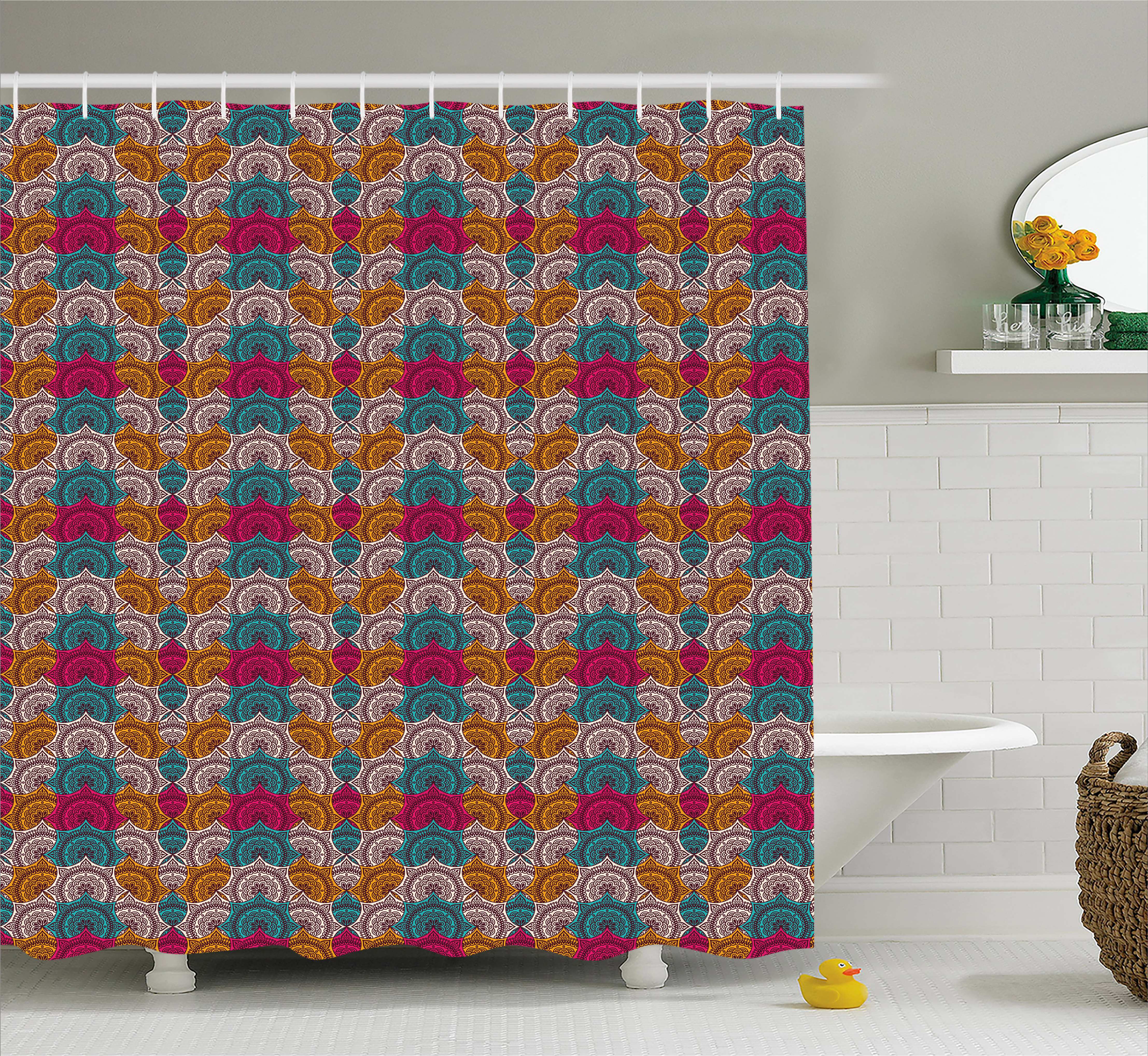 Moroccan Shower Curtain, Lively Colored Ethnic Motifs Overlapping Ornamental Retro Style Tribal Details, Fabric Bathroom Set with Hooks, 69W X 70L Inches, Multicolor, by Ambesonne
