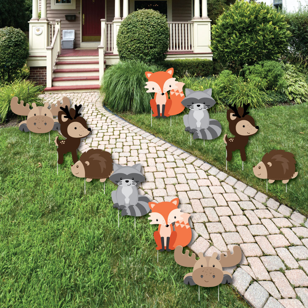 Woodland Creatures-Lawn Decor-Outdoor Baby Shower or Birthday Party Yard Decor-10 Pc