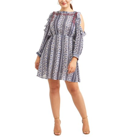 Cherokee Women's Plus Size Long Sleeve Cold Shoulder Dress with Ruffle Detail (Plus Size Steampunk Dress)