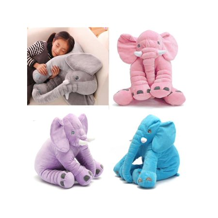 Purple Elephant Stuffed Animal (Soft Stuffed Elephant Lumbar Cushion Kids Baby Sleeping Pillow Toy)