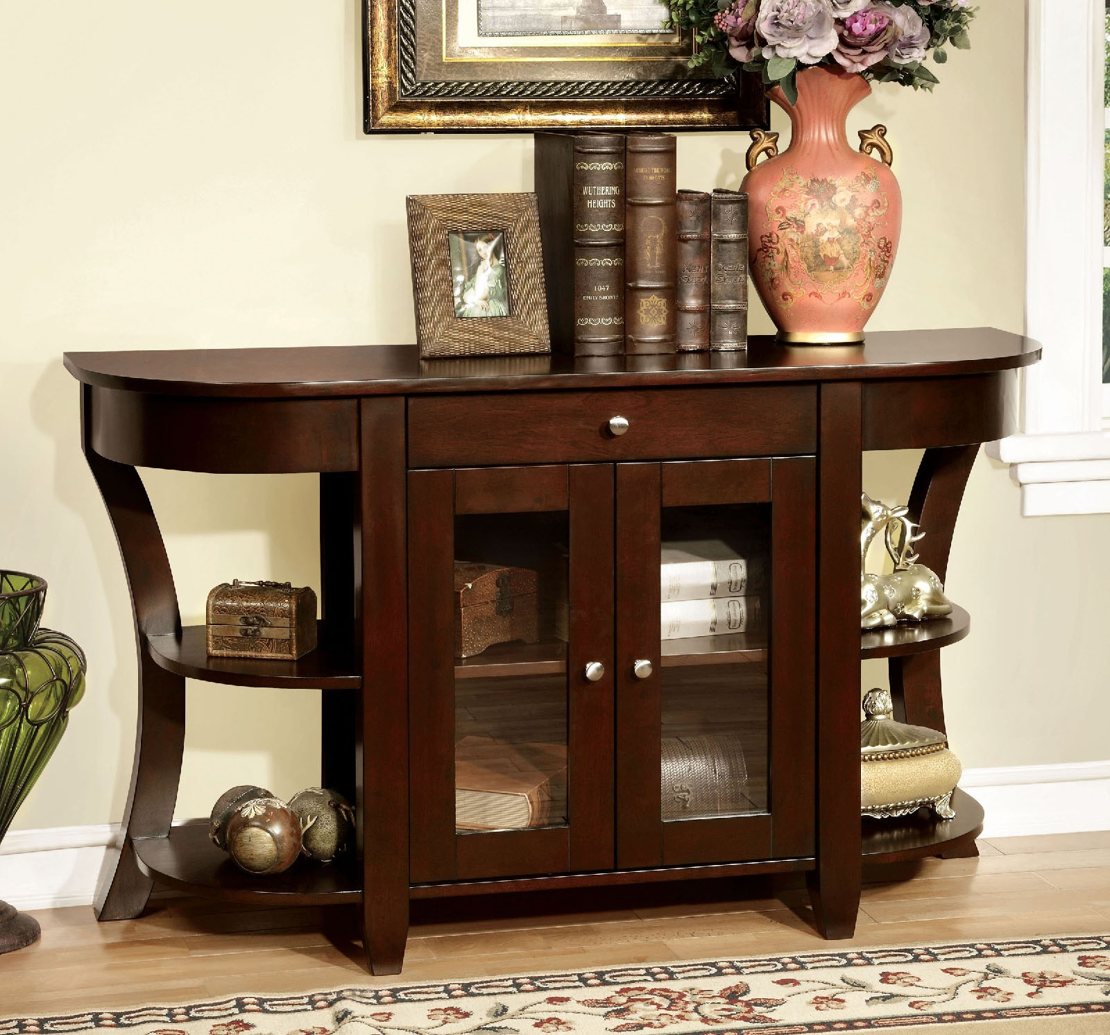hallway console cabinet. Simple Relax 1PerfectChoiceell Hallway Console Sofa Table Cabinet Drawer Open Shelves Wood Dark Cherry