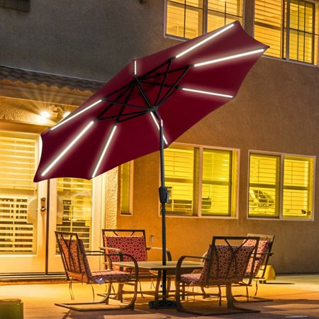 Gymax 9 FT Patio Waterproof Solar Umbrella LED Light Tilt Red ()