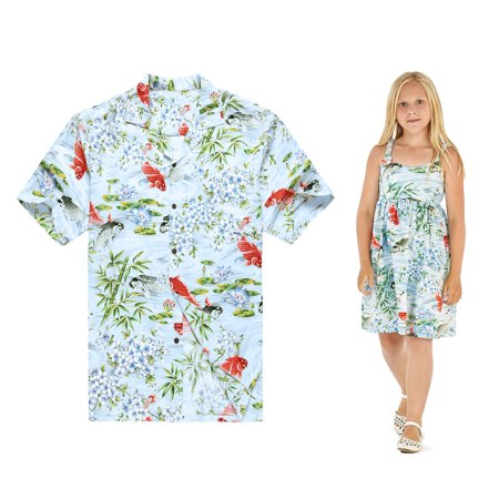 Made in Hawaii Matching Father Daughter Luau Shirt Elastic Strap Dress in Koi Fish Floral in Blue L-2