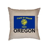 Oregon State Flag - Special Vintage Edition Decorative Linen Throw Cushion Pillow Case with Insert