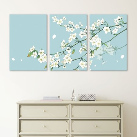wall26 - 3 Panel Canvas Wall Art - Small White Flowers on Light Blue ...