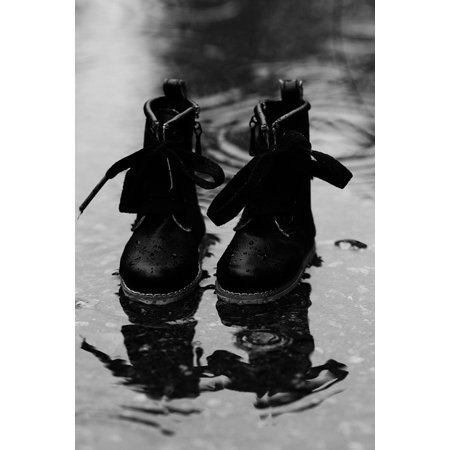 Canvas Print Weather Puddle Small Rain Miniature Boots Wet Stretched Canvas 10 x 14
