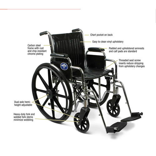 "Medline Extra Wide 20"" Wheelchair, Swing Away Legs, Desk Length Arms"