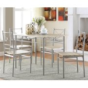 5-Pc Dining Set in Brushed Silver