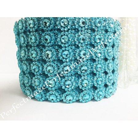 "Perfectmaze 4"" X 10 Yards (30 Feet) Flower Mesh Rhinestone Ribbon Wrap (Turquoise)"