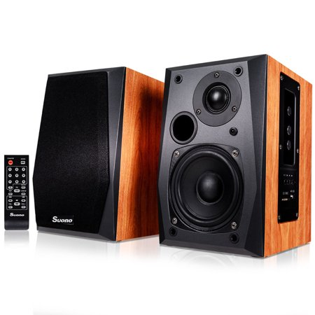 Costway Powered Bluetooth Bookshelf Speakers Active Near Field Monitors Remote