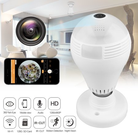 TSV 960P Wifi Wireless IP Bulb Hidden Camera with Fisheye Lens 360° Panoramic for Remote Home Security System,Motion Detection and Two Way Talking for iPhone/Android Phone/ iPad