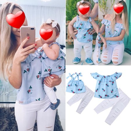 Floral Mother and Daughter Matching Outfits Striped Ruffle Tops Hole Pants Clothes