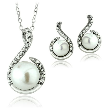 Sterling Silver White Freshwater Cultured Pearl and Diamond Accent Swirl Necklace and Earrings Set