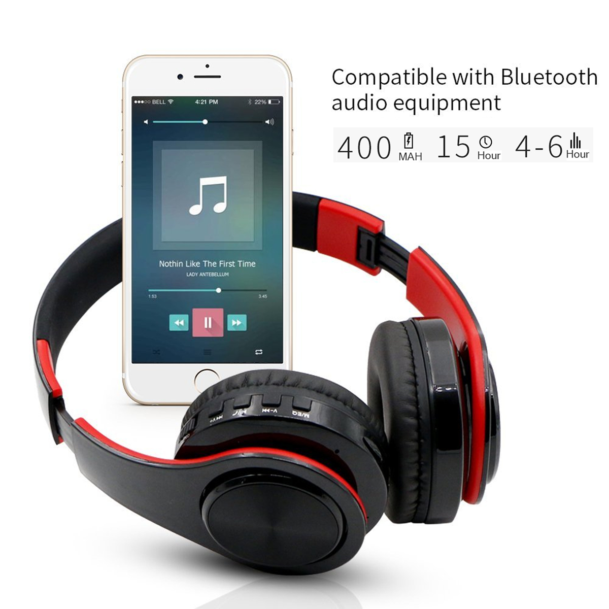 Hifi Stereo Bass Over Ear Wireless Bluetooth 4.0 A2DP Headphones with Mic FM TF card, AUX Noise Cancelling Foldable Headband for PC/ Cell Phones/ TV Soft Earmuffs Up to 250 Hours