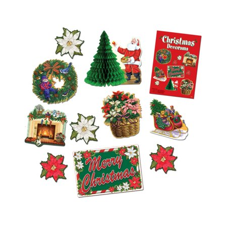 10 Piece Merry Christmas Happy Holidays Cutouts Decorama Decorations Kit
