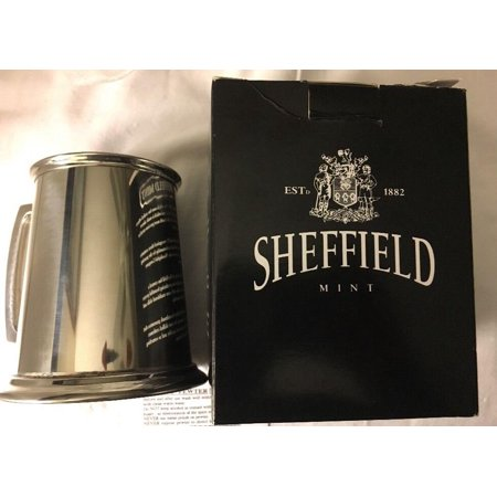 Sheffield England Tankard Mug Cup Pewter Glass Bottom