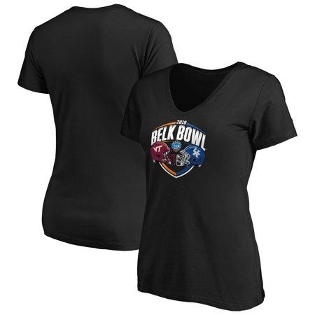 Virginia Tech Hokies vs. Kentucky Wildcats Fanatics Branded Women's 2019 Belk Bowl Matchup Slant V-Neck T-Shirt - Black