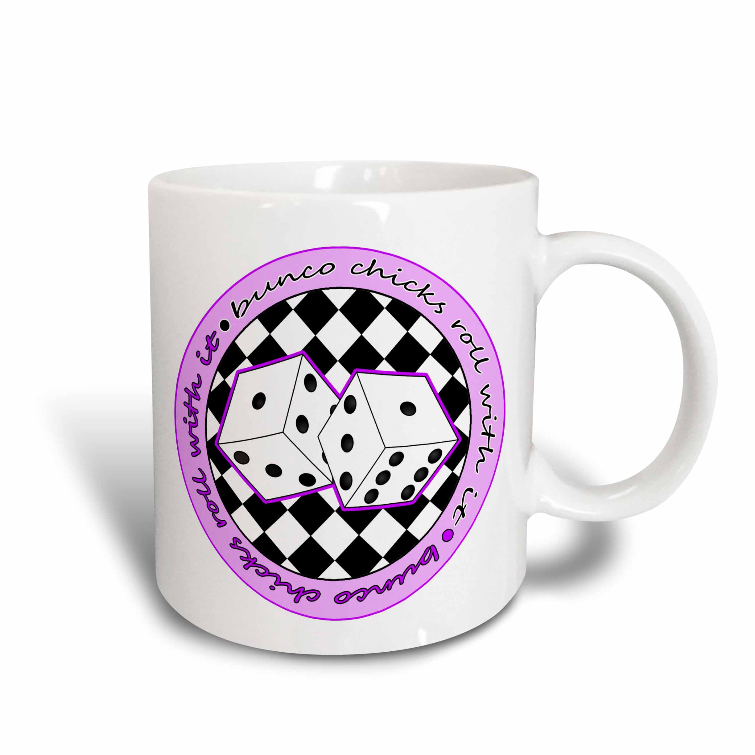 3dRose Bunco Chicks Roll With It Purple and White, Ceramic Mug, 11-ounce