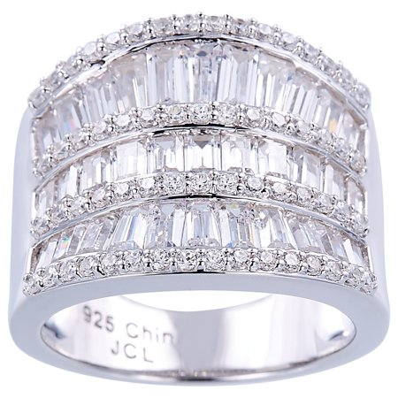 Silver Baguette Ring (Sterling Silver Baguette Cubic Zirconia Sparkling Graduated Saddle Style)
