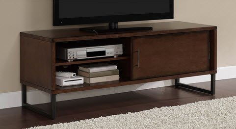 Breckenridge Walnut 50 Inch Flat Screen TV Stand Media Storage Cabinet  Entertainment Center With Sliding