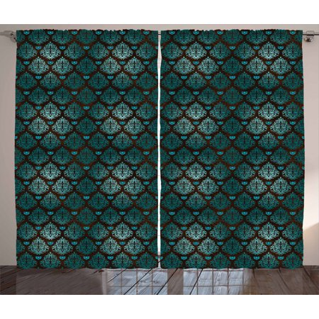 Brown and Blue Curtains 2 Panels Set, Abstract Vintage Floral Design Damask Pattern Ornate Grungy Swirls, Window Drapes for Living Room Bedroom, 108W X 84L Inches, Teal Brown Pale Blue, by Ambesonne ()