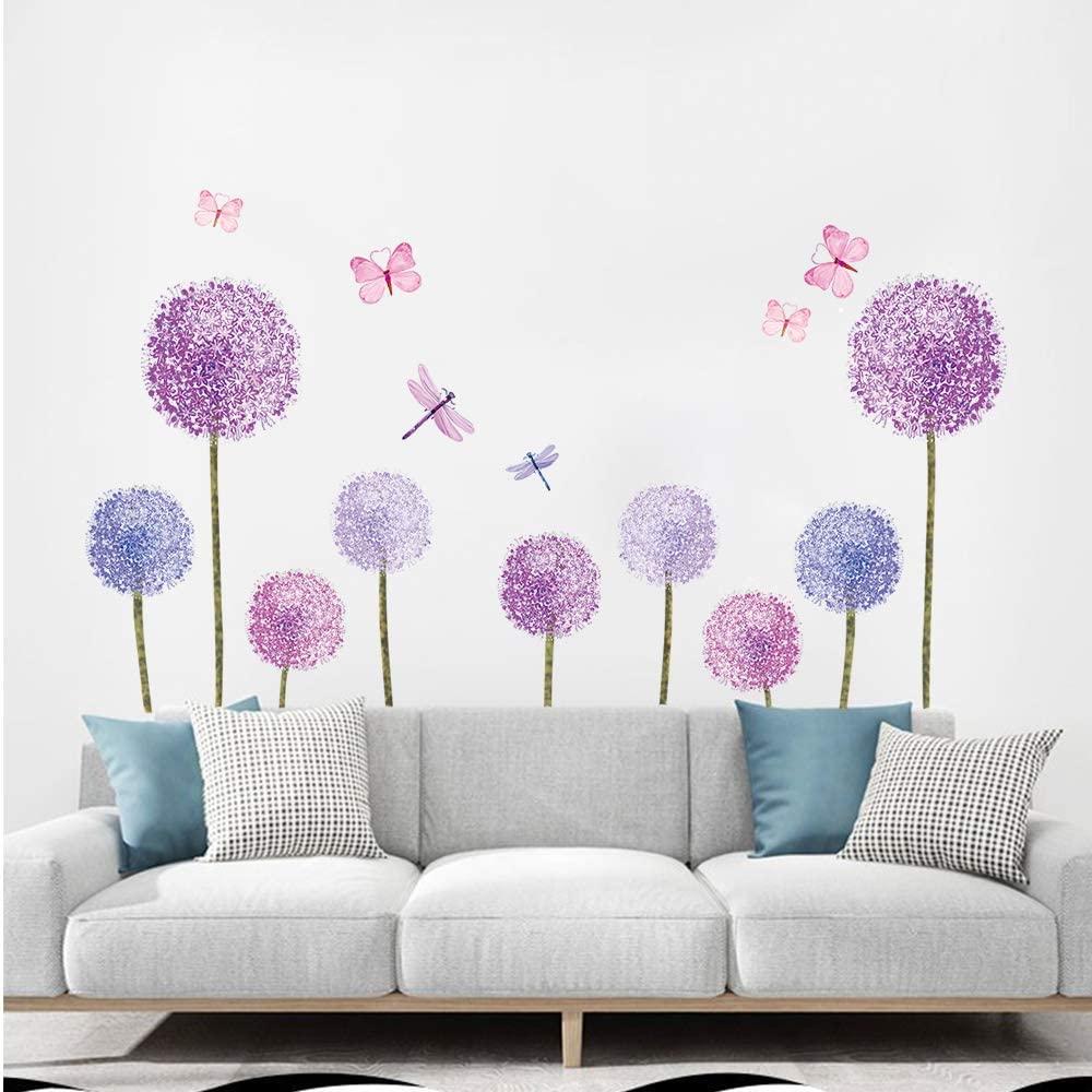 Purple Dandelions Wall Stickers Butterflies Flower Wall Decals Wall Art Decor For Girls Bedroom Living Room Walmart Canada