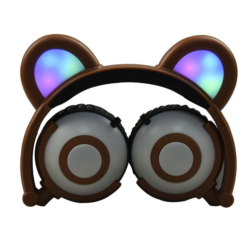 Jamsonic Multicolored LED Light Up Foldable Panda Ear Headphones use for Phones, PC, MP3, MP4, Kids, Childrens, Boys, Girls