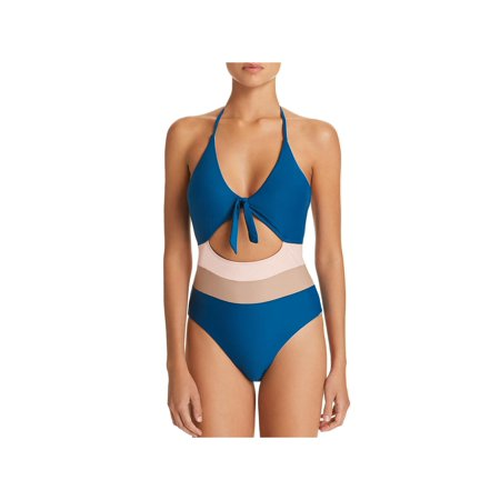 Ella Moss Womens Striped Colorblock One-Piece Swimsuit Blue S Blue One Piece Swimsuit