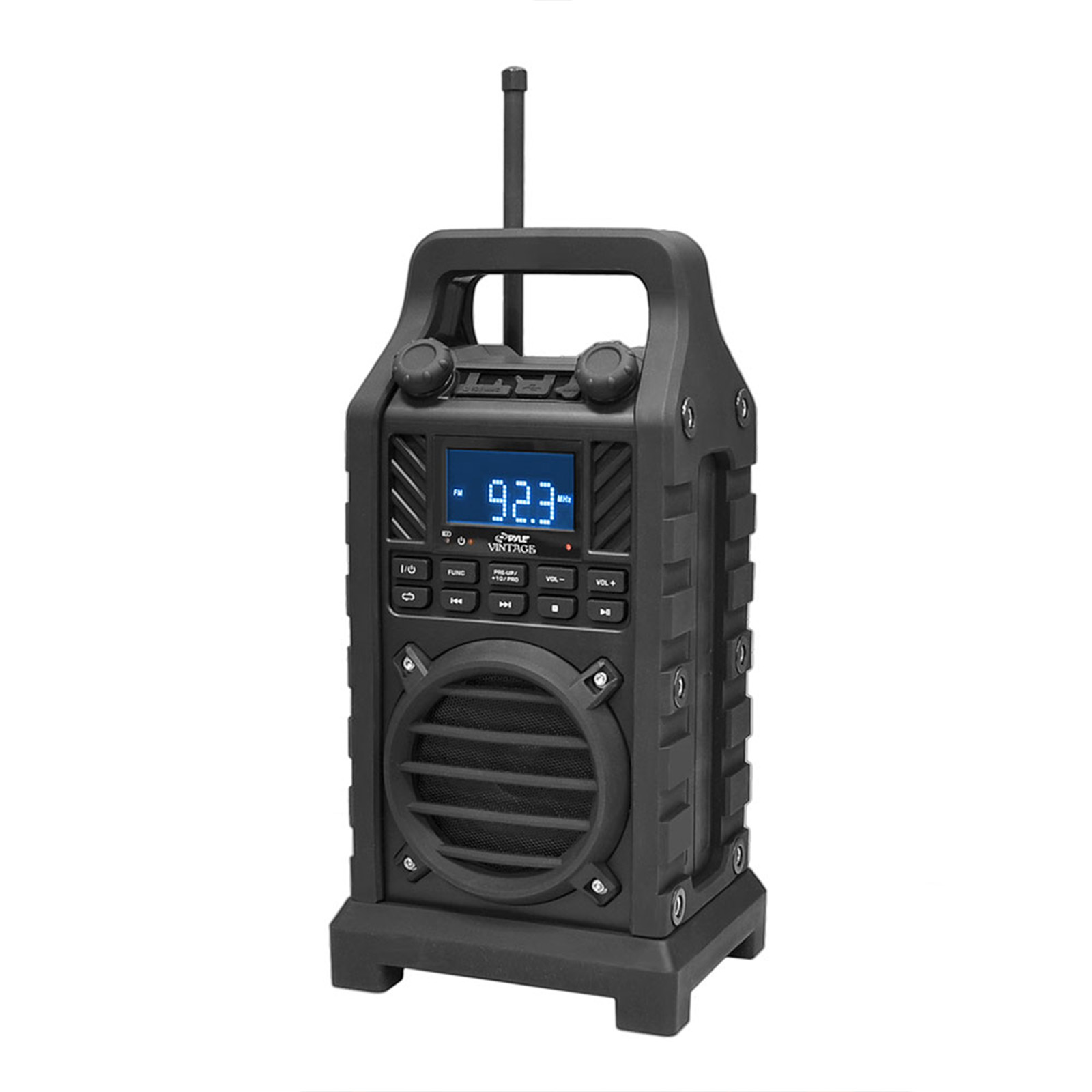 Pyle Rugged and Portable BT Speaker with Durable Construction, Thick Rubber Casing, FM Radio, USB SD Card... by Pyle