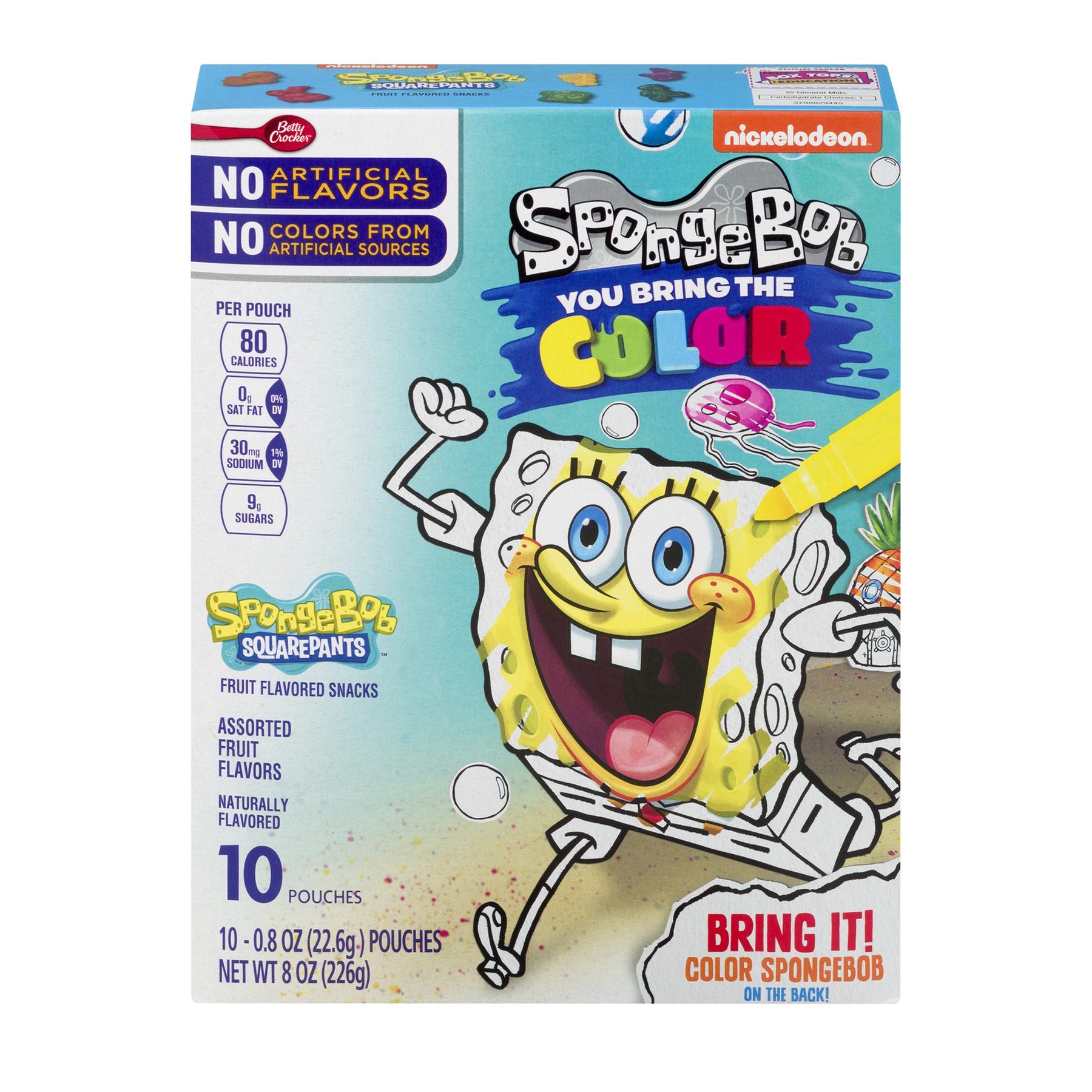 Betty Crocker® SpongeBob Fruit Flavored Snacks Assorted Flavors 10 - 0.8 oz Pouches